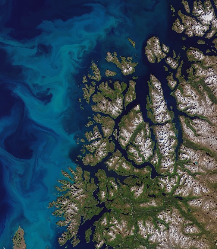 Plankton bloom off north-west coast of Norway